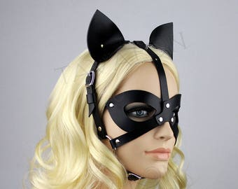 Leather cat mask, Catwoman Mask, Leather Party Mask, Masquerade Mask, Leather BDSM Mask, Fetish Mask, Petplay Mask, Kitten mask, Cat ear