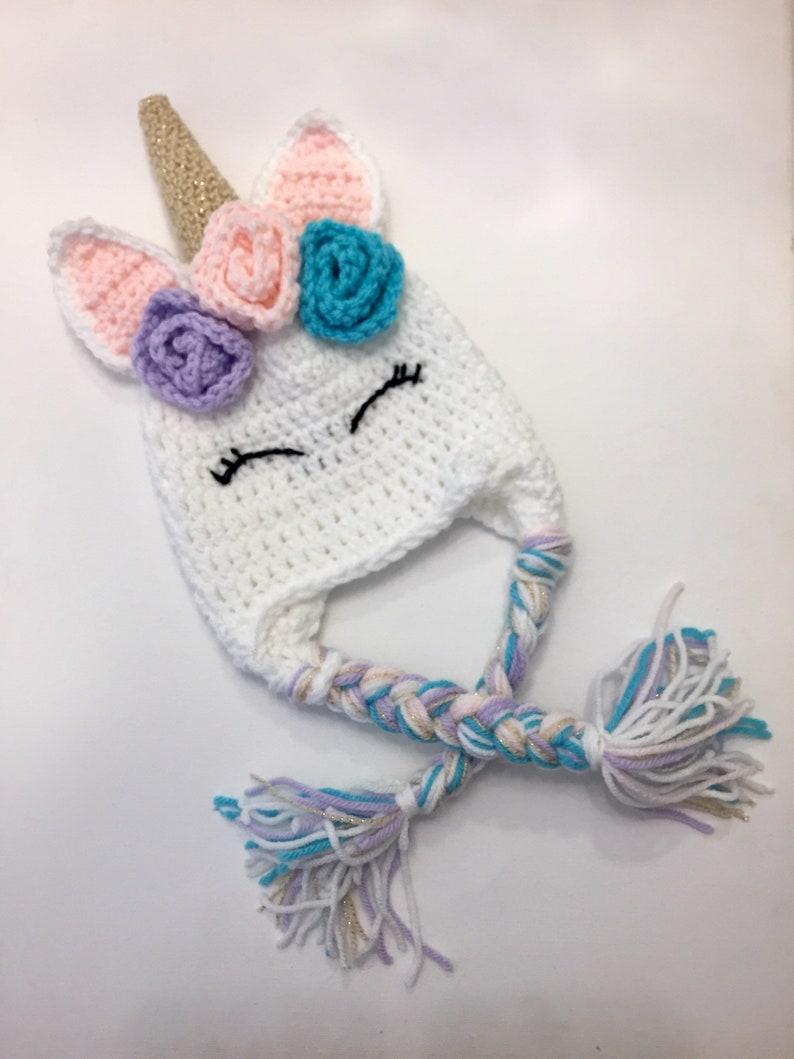 2646919294e Unicorn winter hat children s flower unicorn beanie