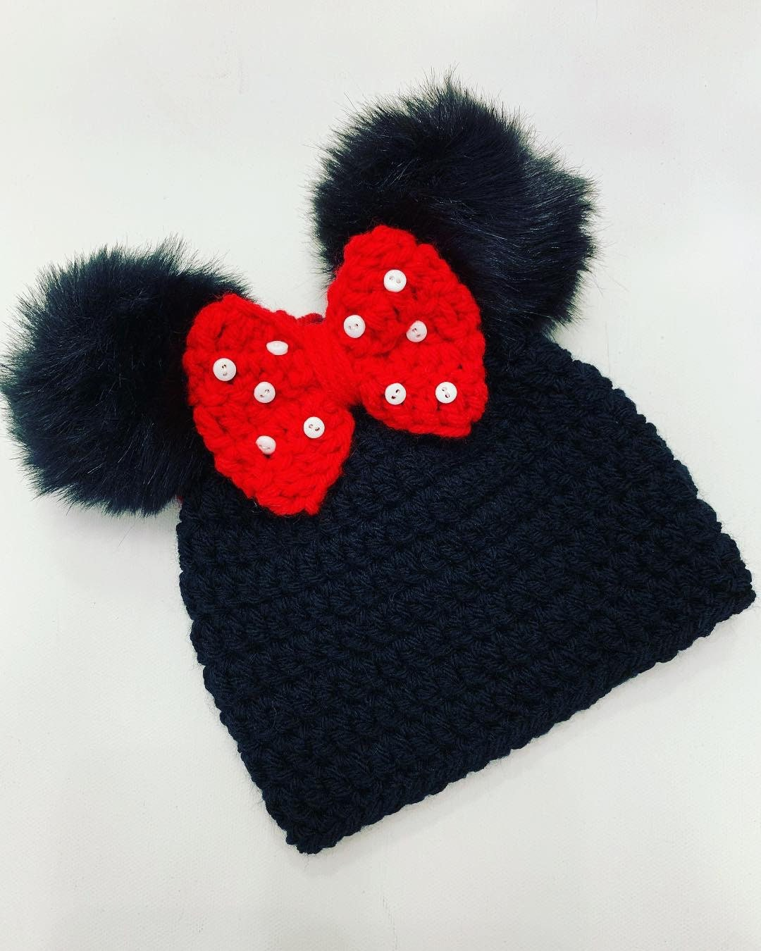 119520910 Girl Mouse Hat Faux Fur Pom Pom Ears and Bow (newborn gift baby girl boy  crochet hat handmade children's hat)