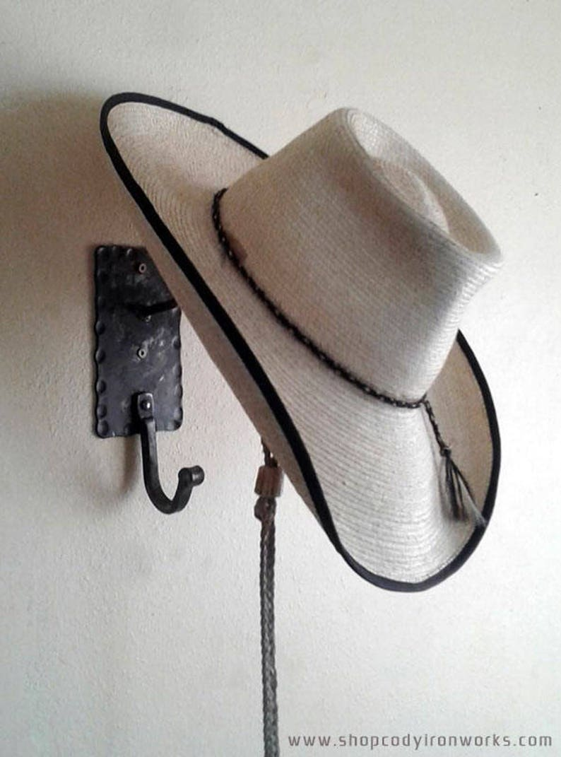 Cowboy Hat & Coat Rack Wall Hanger Combo - Hand Forged in Wyoming