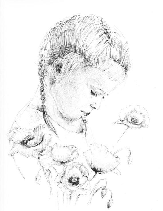 Petite Fille Dessin Des Enfants Croquis De Stylo Et Dencre Affiche De Pépinière Illustration De Fille Noir Et Blanc Tirages Des Enfants Art De