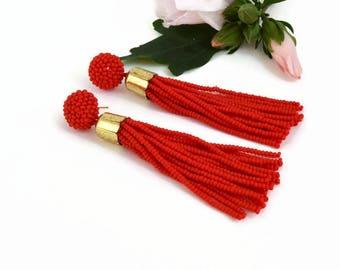 48add219a Red Tassel earrings Statement earrings Fringe beaded earrings Dangle earrings  Handmade Birthday Gift|for|Her
