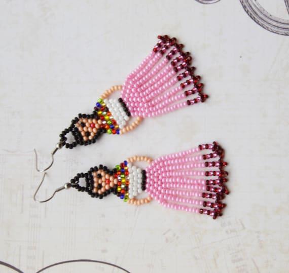 be584702b Native Beaded earrings Frida Kahlo earrings Mexican Lady | Etsy