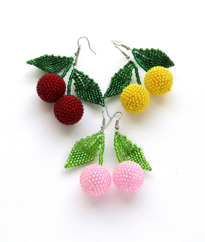 Beaded Dangle earrings/ Cherry earrings/ wholesale jewelry/ image 0