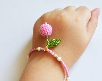 Bracelets with charms Cherry bracelet Pink Bracelet beads Bracelet charms Bracelets for women  Fruit bracelet Fruit charms Beaded bracelet