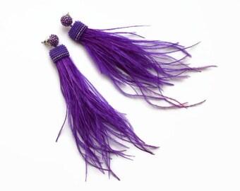 Violet Feather earrings Purple earrings handmade dangle earrings Extra Long earrings Bohemian Earrings Fashion earrings Bohemian Jewelry