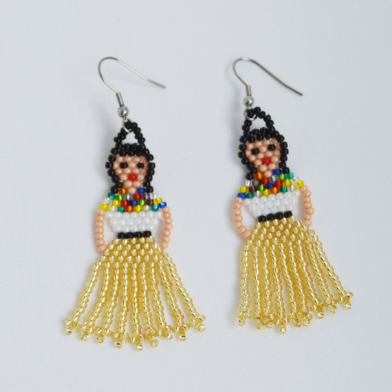 43d87d06a Mexican Lady Earrings Mexican Fiesta Doll Earrings Frida Kahlo | Etsy