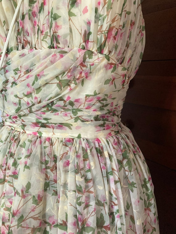 1950s Floral Silk Chiffon Party Dress - image 3