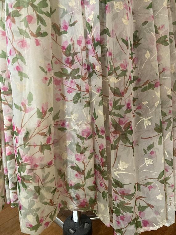 1950s Floral Silk Chiffon Party Dress - image 4