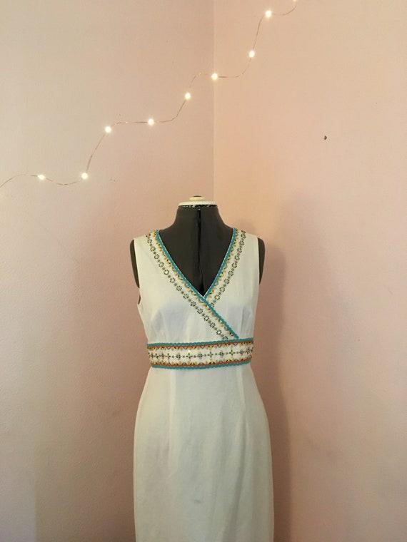 Depeche Mode Linen Summer Dress, Vintage 1970s