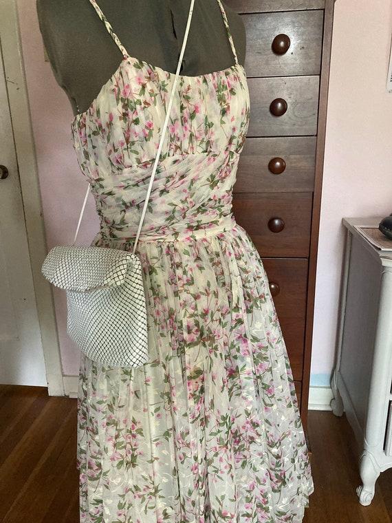 1950s Floral Silk Chiffon Party Dress - image 1