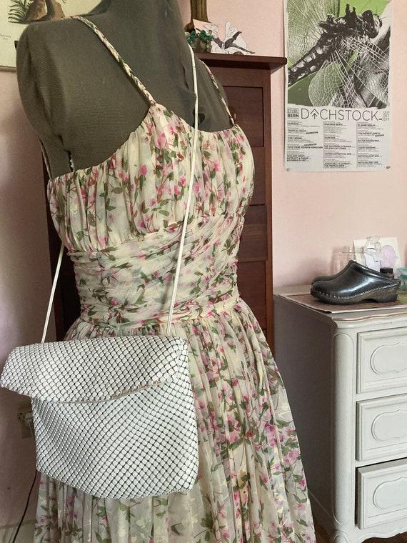 1950s Floral Silk Chiffon Party Dress - image 2