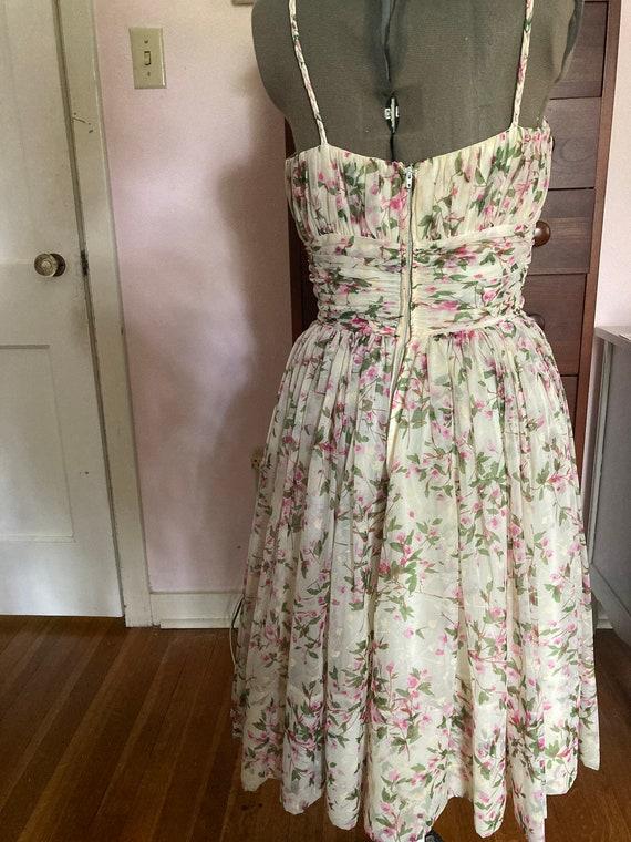 1950s Floral Silk Chiffon Party Dress - image 6