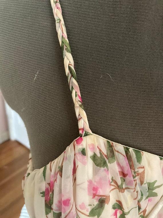 1950s Floral Silk Chiffon Party Dress - image 5