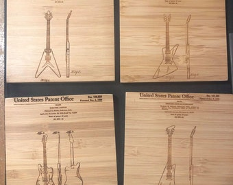 4 Classic Guitar Patent Drawing Bamboo Coasters with Holder Laser Etched Free Customization