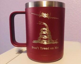 Personalize free A-10 Warthog Gadsden Flag Don't Tread on Me 2A 15 Oz Coffee Mug