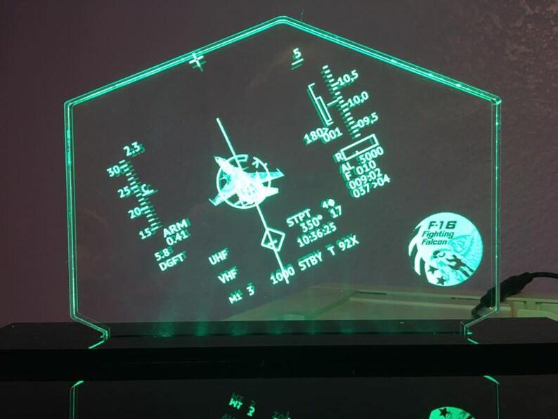 F-16 HUD Customizeable LED Edge Lit Acrylic Desktop Challenge Coin holder  Sign