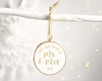 Wedding decor etsy first christmas mr mrs 2018 ornament hand painted wood slice rustic holiday dcor wedding gift xmas tree decoration gold lettering junglespirit Choice Image