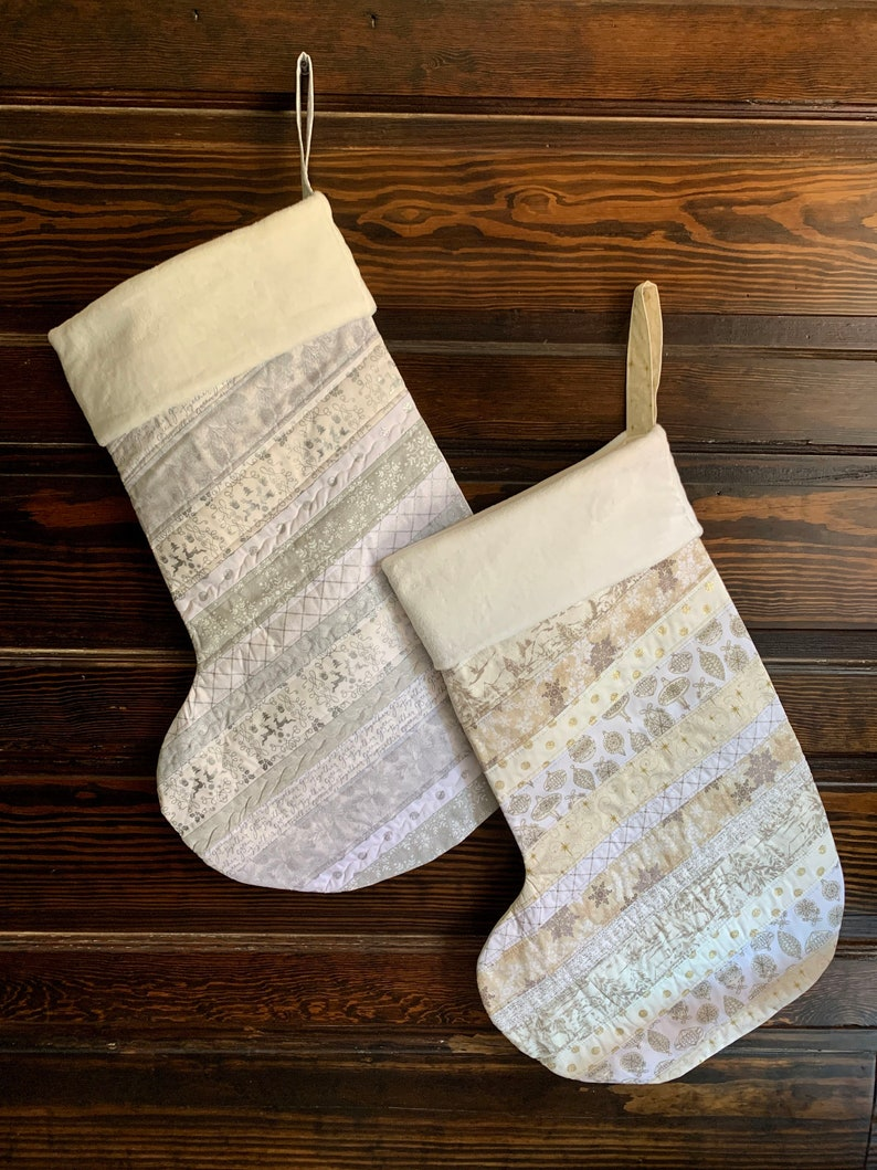 Silver and Gold Tone on Tone CHristmas Stocking 28 Jumbo Oversized Quilted Personalized Plush Embroidered Stocking Children/'s Stocking