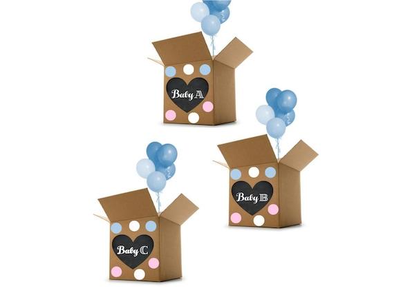Triplets Gender Reveal Idea Gender Reveal for Triplets Digital Triplets Gender Reveal Box Heart Sign Gender Reveal Party Decoration
