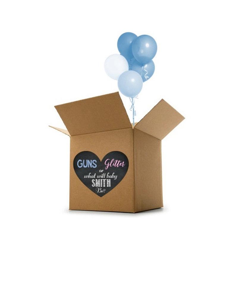 Guns or Glitter Gender Reveal Decor Gender Reveal Decoration Gender Reveal Custom Name Digital File Box Heart Gender Reveal Idea