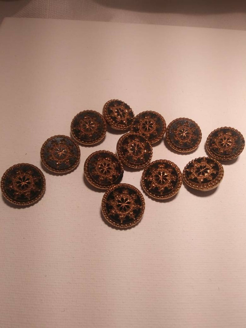 Black and gold Group of 12 vintage czech glass faceted dome buttons