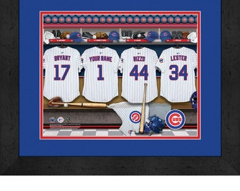 Chicago Cubs MLB Framed Personalized Locker Room Baseball Sports Home Decor  13