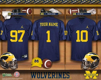 28f834310fc Michigan Wolverines NCAA Unframed Personalized Locker Room Collegiate  Sports Home Decor Free Shipping Officially Licensed Photo File Product