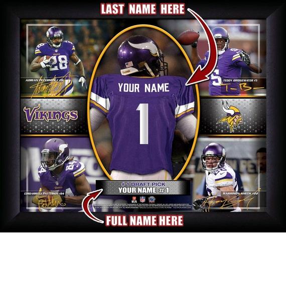 Minnesota Vikings Personalized NFL Football Number One Draft  5fcc2799e