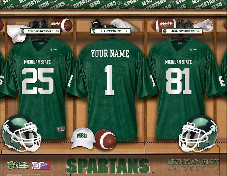 official photos b550a a4c02 Michigan State Spartans NCAA Unframed Personalized Locker Room Sports Home  Decor Free Shipping Officially Licensed Photo File Product