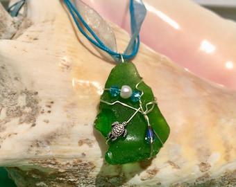 Sea Turtle Green Sea Glass Pendant