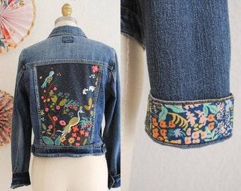 Custom Upcycled Denim Jacket with Rifle Paper Co fabric