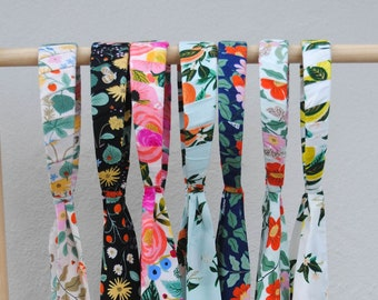"""Rifle Paper Co fabric wrapped tie back headband, 1"""" or 1.5"""" wide headband, available in 7 color options, Made to Order"""