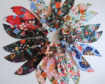 Rifle Paper Co Rayon Floral Scrunchie Scarves in 10 color choices! Made to Order.