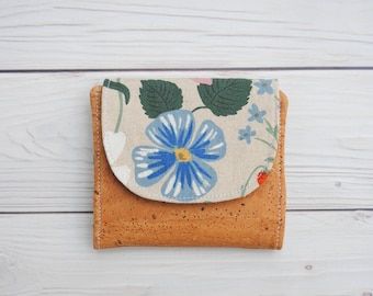 Mini Wallet made with Cork and Rifle Paper Company Cotton and Linen Fabrics. Vegan Wallet. Ready to Ship!