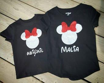 Minnie mouse shirt-glitter Minnie mouse - Minnie girl shirt- Disney girl shirt