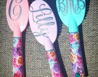 monogram hairbrush, personalized brush, name on brush, floral brush. glitter brush