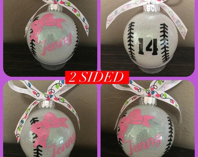 Baseball ornament, Softball ornament, Tball Ornament, Baseball, glass ornament