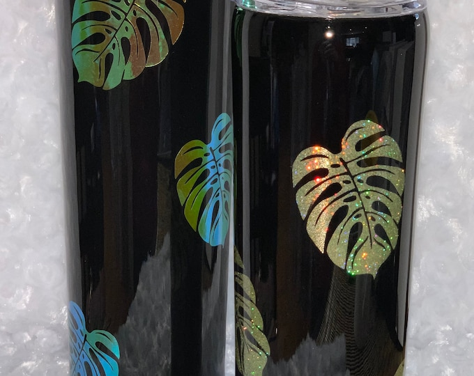 Palm leaf, tropical, Hawaiian, beach, stainless tumbler, skinny tumbler