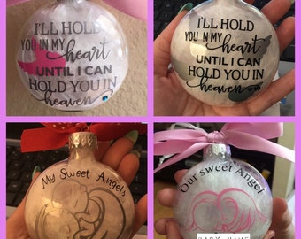 In Memory, Remembrance ornament, Glass Ornament, Personalized Ornament, infant