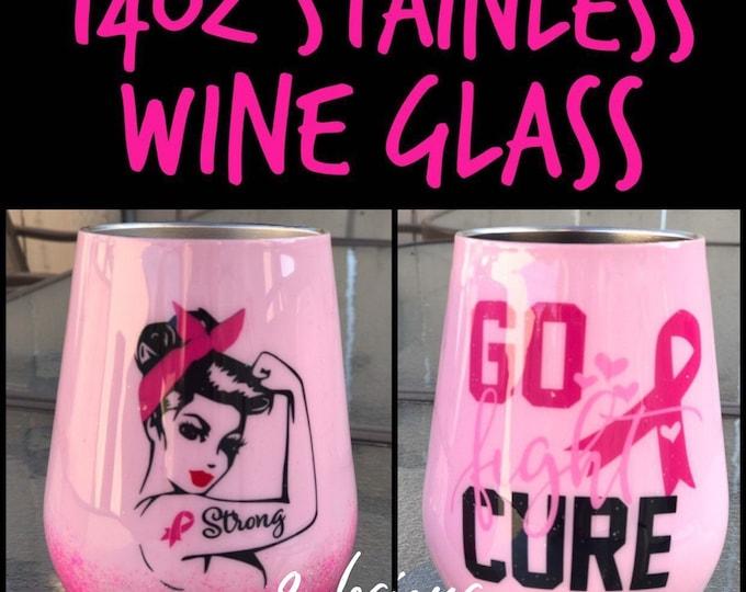 Breast cancer, cancer, Fighter, Survivor, wine Glass, Pink, breast cancer awareness, Tumbler