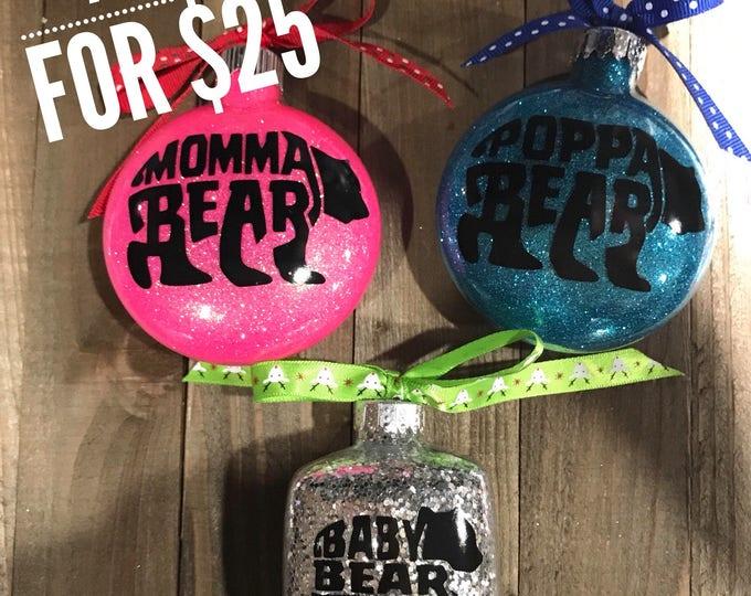 Momma Bear, Poppa Bear, Baby Bear Ornament, Glass Ornament