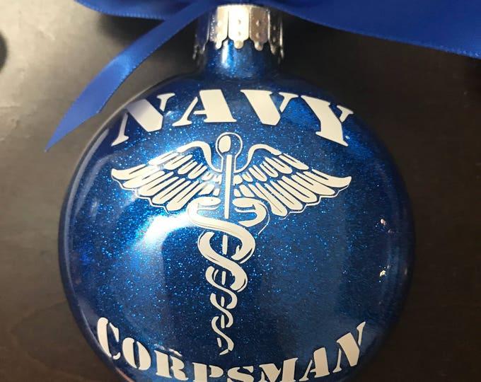 Corpsman, Navy Corpsman ornament, Glass Ornament