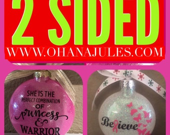Breast Cancer Ornament, Breast Cancer, Personalized Ornament , Christmas Ornament, Ornament, Personalized, Breast Cancer Awareness