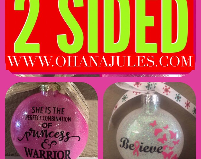 Breast cancer ornament, Breast Cancer,Personalized Ornament , Christmas ornament, ornament, personalized, Breast Cancer Awareness