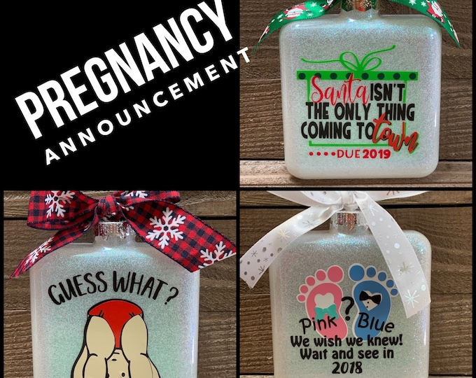 Pregnancy announcement, pregnancy ornament, baby announcement, personalized ornament, Christmas ornament, baby due, glass ornaments