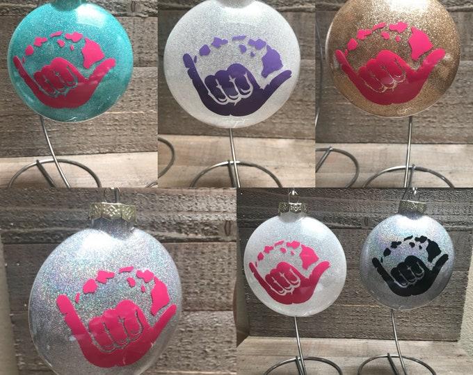Shaka, glass ornament, Hawaiian ornaments, aloha, Shaka ornament, personalized ornaments, Hawaiian gift