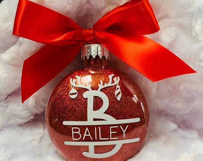 Reindeer, Reindeer Ornament, Personalized Ornament, Glass Ornaments, Kids Ornament