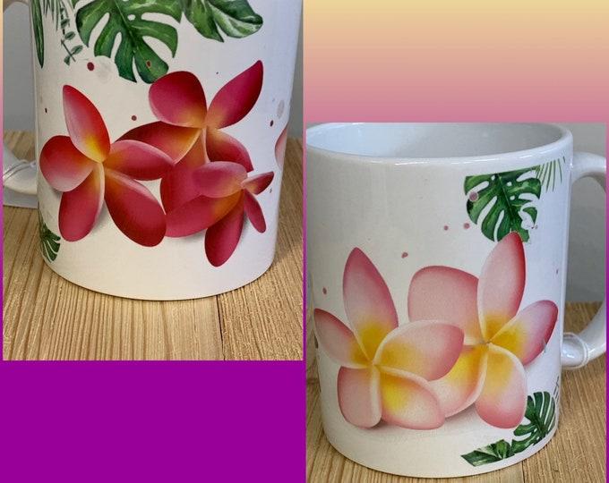 Plumeria, hibiscus , coffee mug,mug, starbucks, tea, Hawaiian, aloha