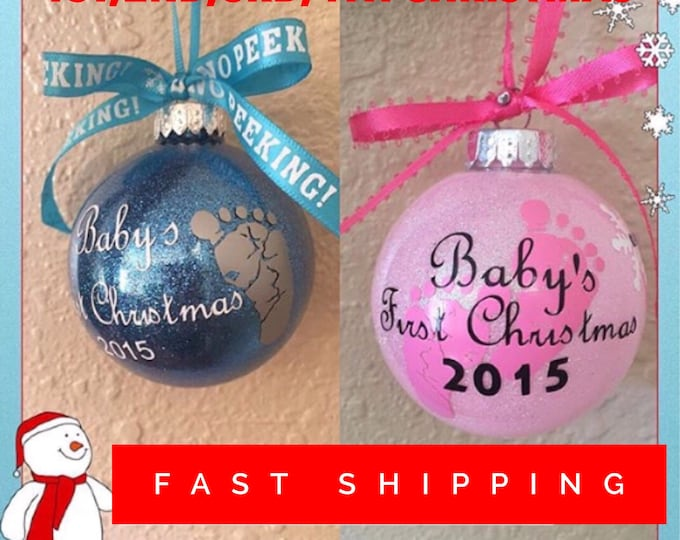 Baby's first Christmas, 1st Christmas, Personalized Ornament, Santa, Glass Ornament 2nd Christmas, Babie's First, Babie's 1st